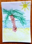 Kärtchen mit dem Bild einer Insel mit Palme