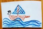Kärtchen mit dem Bild eines Schiffs