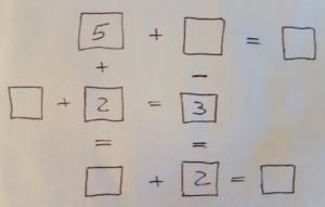 Rechenaufgaben in der Form eines Kreuzworträtsels